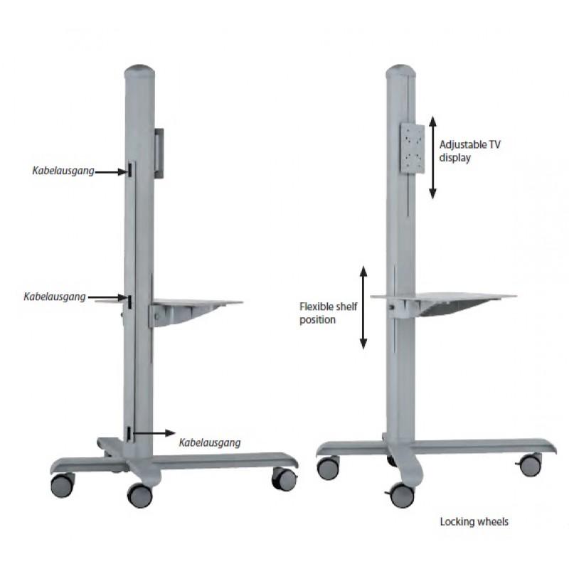 Monitorständer mit Ablage Grau